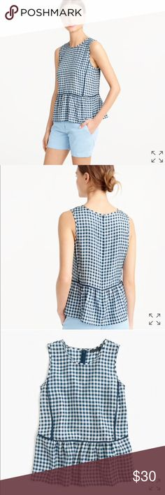 J. Crew Gingham Ruffle Tank Top NEW with tags! J. Crew Tops Tank Tops