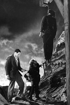 Colin Clive and Dwight Frye in a production still from Frankenstein (James…