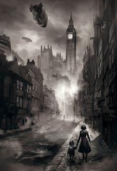 Steam zeppelin above London...