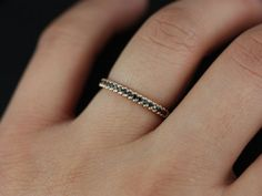 Kierra 14kt Rose Gold Black Diamonds French Pave Halfway Eternity Band (Other Metals and Stone Options Available)