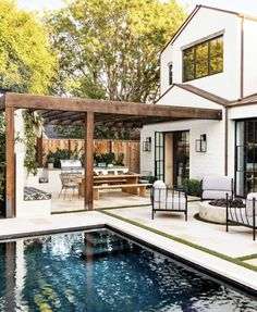 outdoor living space with pool - outdoor living ; outdoor living on a budget ; outdoor living space on a budget ; outdoor living space with pool ; Indoor Outdoor Kitchen, Outdoor Kitchen Design, Outdoor Dining, Outdoor Spaces, Dining Area, Outdoor Kitchens, Patio Dining, Outdoor Patios, Kitchen Modern
