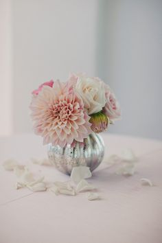 ~simple pretty~ pink flowers, mercury glass, dahlias, pink weddings, roses, military weddings, floral designs, centerpieces, cocktails