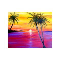Tropical Key West Sunset Oil Painting ❤ liked on Polyvore