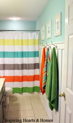 LOVE The Kids Shower Curtain Cute Bathroom Remodel With Board Batten Buy Yellow Orange Teal Grey Green Towels And This Way You Can Color Code