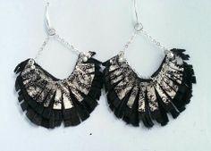 Leather earrings chandelier