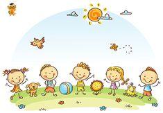 Buy Happy Cartoon Kids Outdoors on a Green Meadow by katya_dav on GraphicRiver. Happy cartoon kids outdoors on a green meadow, vector Happy Cartoon, Cartoon Kids, Drawing For Kids, Art For Kids, Cute Pins, Free Vector Art, Clipart, Design Bundles, Doodles