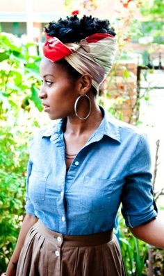 Lovely look with #scarfpuff #naturalhairstyle   Loved By NenoNatural!