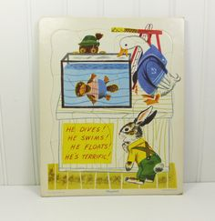 Rabbit and His Friends 1950s Playskool Puzzle, He Dives! He Swims! Cardboard Tray Puzzle, Richard Scarry by naturegirl22 on Etsy