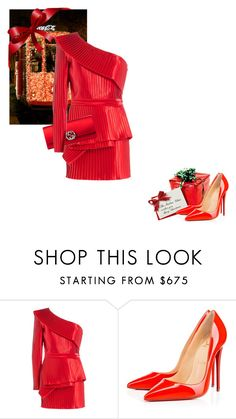 """""""Merry Christmas"""" by theitalianglam ❤ liked on Polyvore featuring Balmain, Christian Louboutin, Gucci, Louboutin, balmain, gucci, MerryChristmas and bytheitalianglam"""