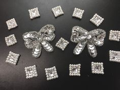 "Square and Bow Assortment Silver Sequin Beaded, Clear Gems and Pearls .5"" - 2"""