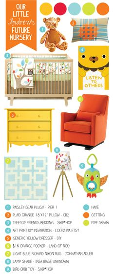 AJs nursery inspiration. Planning to get everything as close as possible (minus the fabulous rocker) if the hubz doesn't interfere:) Love it!