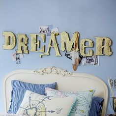 Junk Gypsy Dreamer Glitter Letters from PBteen. Saved to Junk Gypsy. Shop more products from PBteen on Wanelo. Glamping, Junk Gypsies Decor, Josie Loves, Pb Teen, Glitter Letters, H & M Home, Pottery Barn Teen, Big Girl Rooms, Letter Wall