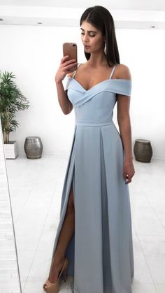 Simple v neck long prom dress evening dress Grad Dresses, Prom Dresses Blue, Evening Dresses, Bridesmaid Dresses, Summer Dresses, Formal Dresses, Girls Dress Up, Dress For You, Beautiful Prom Dresses