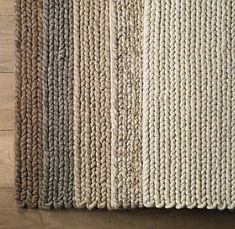 Chunky handwoven felted rugs from India. Color selection - mocha, grey, oatmeal, marled and cream.  You can buy these plush rugs at Restoration Hardware.