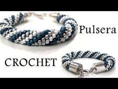 M Cómo hacer una pulsera de Crochet.  Mas esquemas en: http://www.abalorios-tupis.es