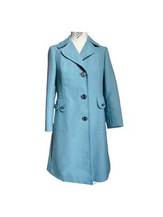 1960 s blue WOOL trench COAT // Mod // size by louloufrenchvintage