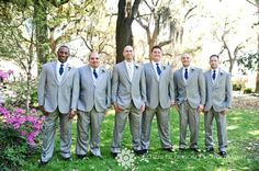 The guys' look for our wedding!  Just scratch the blue ties and make them navy blue!