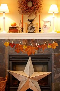 Thanksgiving - thankful leaves garland hung on twine from clothes pins. Thanksgiving Crafts, Thanksgiving Decorations, Fall Crafts, Seasonal Decor, Decor Crafts, Holiday Crafts, Holiday Decor, Thanksgiving Mantle, Fall Decorations