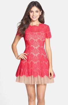 Betsy & Adam Short Sleeve Lace Fit & Flare Dress available at #Nordstrom