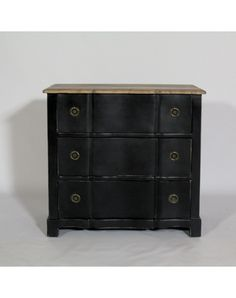 Commode Ancienne Noire Poignées Laiton | Made In Meubles