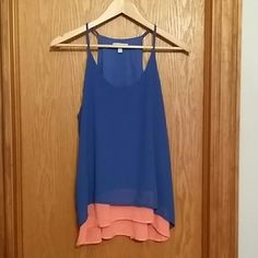 BG Razerback Double Layer Cami Tank Gorgeous cami tank!! This double layer cami tank looks great with everything. Beautiful blue and coral colors. BG Tops