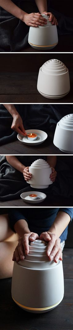 Relying on ceramic's heat dissipating properties, the Cieplik uses just one simple tea-light candle on the inside to create a heat chamber inside itself. The heat then gently dissipates into the environment, not only working as a natural heater, but even encouraging you to warm your hands around this earthen fireplace!