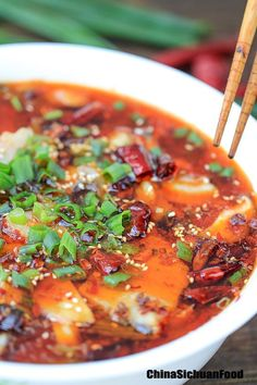 """SICHUAN BOILED FISH ~~~ this is but one of the many beloved series of dishes called, shuizhu (the literal translation of this style of food preparation is, """"water-cooked meat slices"""") [China, Sichuan Province] [chinasichuanfood]"""
