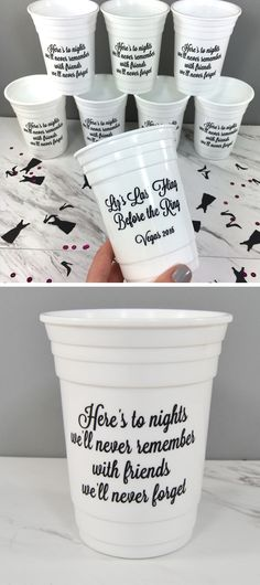 Custom party cups for a girls weekend. Pick from a bunch of colors and you can add a custom message.
