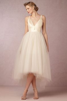 The quintessential ballet-inspired dream dress: slim silk bodice with hi-low, layered-forever tulle skirt. #anthrofave
