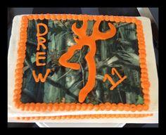 Browning/Camo Cake Camo Birthday Cakes, Camo Cakes, Hunting Birthday, Birthday Sheet Cakes, Hunting Party, Wild One Birthday Party, 16th Birthday, Happy Birthday, Birthday Ideas