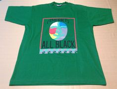 America All Black Graphic Art T Shirt Tee Green Multi Cotton Adult Large #Wasen #GraphicTee