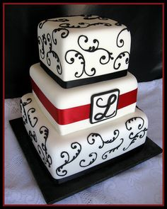 Black & White Monogram Wedding Cake by Elegant Cake Creations AZ, via Flickr