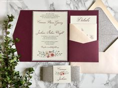 Burgundy and Silver Glitter Pocket Wedding Invitations, Watercolor Flower Wedding Invitation