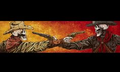 The cowboys face off in an old-fashioned Mexican Standoff. Canvas Prints The ready-to-hang The Standoff canvas prints are produced with archival ink on museum-grade, gallery-wrapped canvas and extend