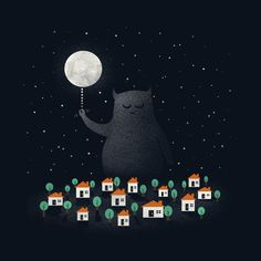 Monstres qui tiennent les étoiles et la lune la nuit // Good Night, Sleep Tight. Cute monster illustration by Zach Terrell