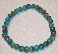 Teal and Brown Crackle Bead Bracelet by SageBeauties on Etsy, $6.00