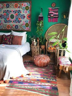 bohemian boho living moroccan bedroom rooms bold hippie leather ottoman tiny pouf apartment pouffe maximalists maximalist poufs bedrooms therapy chair
