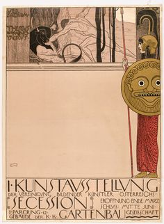 Gustav Klimt, Secession I, 1898. Poster. Color lithograph, 97 x 69 cm. Gift of Bates Lowry. 207.1968. The Museum of Modern Art, New York