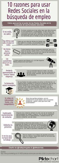 10 razones para usar redes sociales en la búsqueda de empleo. #Infografía en español