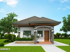 Compact and functional best describe this one-storey model. Its simple an unassuming may appeal to families who put a high value on comfortable and spacious Bungalow Style House, Modern Bungalow House Design, Modern House Floor Plans, Simple House Design, Bungalow House Plans, Modern Design, Two Bedroom House Design, Three Bedroom House Plan, Town House Plans