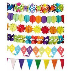 Un festivo kit de guirnaldas para dar vida a cualquier fiesta - de www.fiestafacil.com, $9.95 para 6 / A festive pack of decorative garlands, to add colour to any party - from www.fiestafacil.com