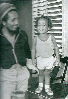 Bob Marley with his youngest son, Damian Marley.