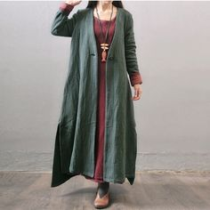 Women autumn and winter cotton linen  loose long coat -Buykud