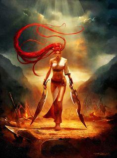 Nariko, Heavenly Sword by Alessandro Taini (Talexi) Fantasy Warrior, Fantasy Rpg, Dark Fantasy Art, Fantasy Artwork, Fantasy Women, Fantasy Girl, Fantasy Characters, Female Characters, Disney Characters