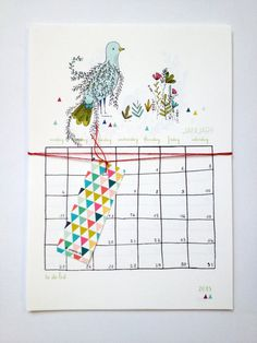 Calendar 2015    12 different designs for each month  with a planner  a space for to do list    Colorful, poetic, fox, birds and owls and lovely