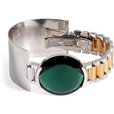 Delfina Delettrez Watch Bangle (1 791 AUD) ❤ liked on Polyvore featuring jewelry, bracelets, watches, accessories, green, cuff bangle, cuff jewelry, bracelets & bangles, cuff bangle bracelet and hinged bangle