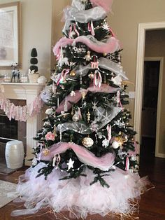 Pink theme Christmas tree with tulle skirt.