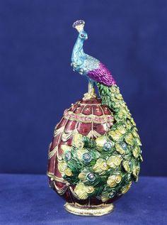 Enameled Pewter Bejeweled Peacock on Egg Trinket Box with Treasure Inside