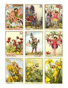 Collage Digital de hadas alfabeto Vintage hojas grande