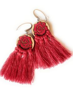 #rose #redearrings #roseearrings #rosejewelry #roseflower #redrose #lasercutwoodjewelry #woodearrings #woodenearrings #handpainted #handmadejewelry #fringeearrings #macrameearrings #tasselearrings #earrings